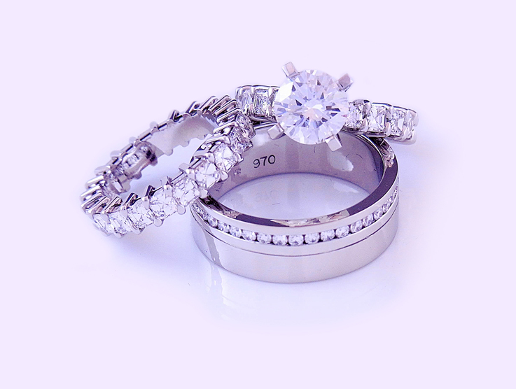 set of three diamond rings